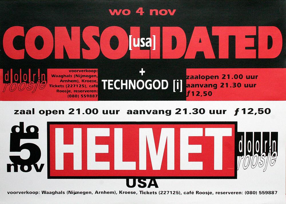 Doornroosje Nijmegen, affiche Consolidated, Helmet, 1992
