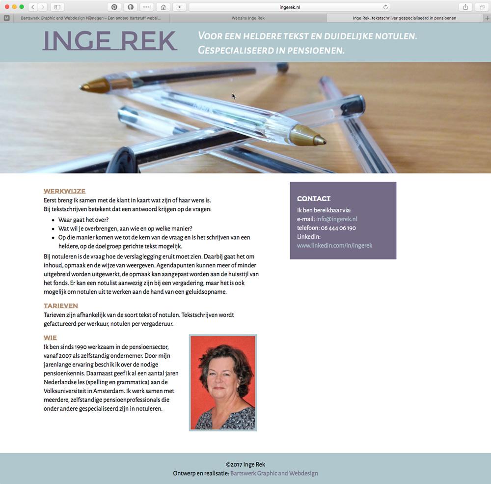bartswerk website ingerek.nl